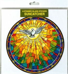 Sun Catcher The Holy Spirit Tiffany Style Self Adhesive Multicolour Protection