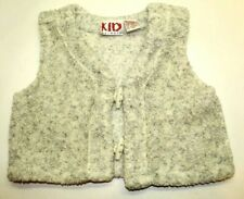 Vintage Kid Warmers Fuzzy Winter Vest 2 Button Gray Inside Out Look Size 2T