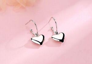 Beautiful Heart Dangle Chain Earrings 925 Sterling Silver Women's Girls Jewelry