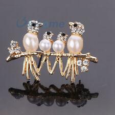 Golden Crystal Jewelry Birds Rhinestone Pearl Brooch Pin wedding bridal Broach