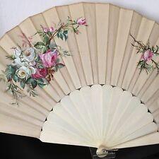 EVENTAIL Ancien Circa 1890 Soie Peinte Roses XIXè ANTIQUE FAN VENTAGLIO