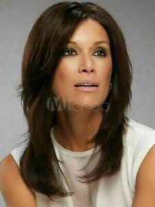 100% Human Hair New Fashion Sexy Women's Medium Natural Dark Brown Straight Wigs
