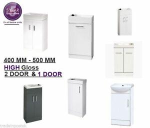 Modern High Gloss White Bathroom Cloakroom Furniture Vanity Unit with Basin Sink