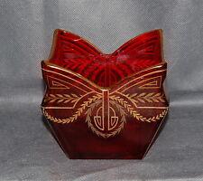 Jugendstil Ruby Red Gilt Art Glass Vase by Josef Riedel c. 1912 Antique