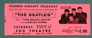 Beatles-Ticket Stub Closed Circuit-Washington DC-Beach Boys-Lesley Gore-1964
