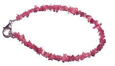 "Pink Tourmaline Gemstone 4-6mm Beads 925 Sterling Silver 7"" Strand Bracelet RO44"