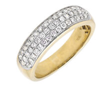 Solid 10K Yellow Gold Three Rows Pave Genuine Diamond Wedding Ring Band .90ct