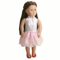 Fashion Handmade Pink Lace Doll Dress For 18 Inch Girl Party Doll Cloth Toy I7K2