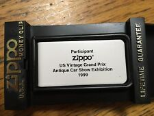 Us Vintage Grand Prix 1999,Zippo white money clip painted logo,Nib,Watkins Glen
