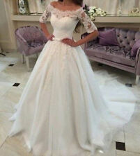 A-line Lace Half Sleeve Boat Neck Wedding Dresses