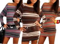 Damen Langarmshirt Minikleid Dress Kleid Pullover Sweatshirt Longshirt Gr. S M 3