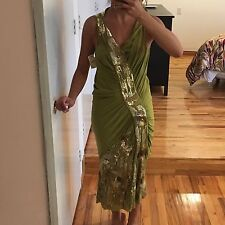 JOHN GALLIANO GREEN DRESS WITH SEQUINS, SIZE 8, NEW WITH TAG ($2945)