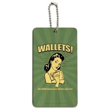 Wallets Other Bulge Woman Looks For Wood Luggage ID Tag