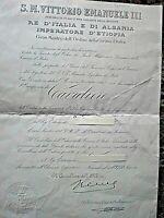 WW.2 DIPLOMA DI MEDAGLIA CAVALIERE DELL' ORDINE DELLA CORONA D'ITALIA 1941
