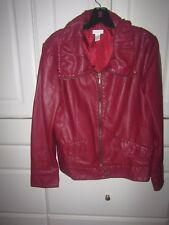 Chicos Womens Size 1 Burgundy Red Faux Leather Jacket Full Zip