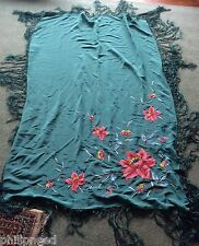 Vintage Cantonese large green silk floral embroidered shawl