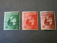 Gb Keviii 1936 1/2d, 1d, 1 1/2d Inverted Watermark Used