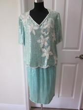 Stenay 100% Silk Pale Green 2 Pc Sequin & Beaded Top & Skirt Outfit Sz L