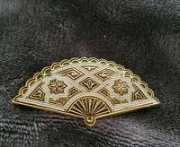 Vtg Gold tone Damascene Fan Toledo BROOCH pin Costume Jewellery