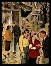 """""""The Dating Game"""" College Town Guys & Gals Magazine Art-1951 By Mario Scali"""