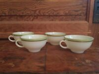 Vintage Pyrex Lime Green With Gold Trim Cup Set Of 4 B