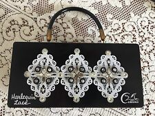 """Enid Collins,Box Bag,""""Harlequin Lace"""", Very Good Vintage Condition, All Jewels"""