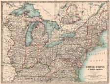 USA NORTH EAST. New England Mid West Mid Atlantic. JOHNSTON 1906 old map