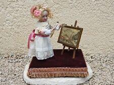 """ancienne poupée automate """" boite a musique """" peinture sur toile"""