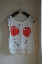 Girl  Lady's Cropped Dancing Top  t shirt Cute Cherry Fruit Smile White One Size
