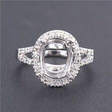 Natural Diamonds 8x10MM Oval Cut 14K Solid White Gold Gorgeous Semi Mount Ring
