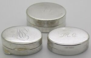 3 x Vintage Solid Silver Italian Made Engraved JOB LOT Pill Snuff Boxes Hallmark