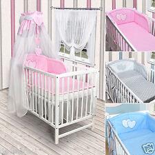Babybett Kinderbett weiß Bettwäsche Bettset komplett NEU Herz