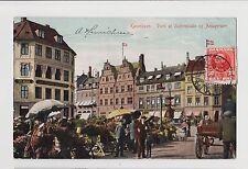 Copenhagen,Denmark,Hejbroplads & Amagertorv,Horse Drawn Wagon,Used,1909