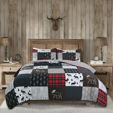 Rustic Lodge Moose Cabin Real Patchwork Reversible Quilt Set Bedspread Coverlet