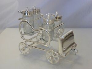 SILVER PLATED NOVELTY CAR CRUET SET