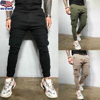 Men Slim Fit Tracksuit Sport Gym Skinny Jogging Joggers Sweat Pants Trousers US