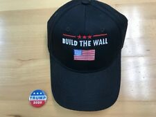 BUILD THE WALL TRUMP USA AMERICAN FLAG with free Trump 2020 campaign pin/ button