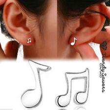 Unique Women Music Letter 925 Sterling Silver Rhinestone Ear Stud Earrings