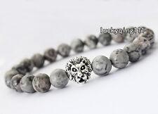 Men's Gray Picasso Jasper Beads Lion Head Elastic Beaded Tibet Charm Bracelet