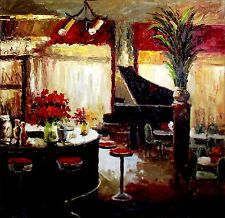 Grand Piano by Bar Counter, Heavy Impasto Hand Painted Oil Painting 36x36in