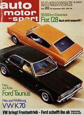 Poster Auto Motor und Sport 20/70 26.9.70 1970 Replica Ford Taunus Knudsen Bild