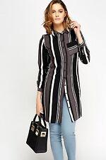Womens New Look Mono Striped Long Sleeve Button Collar Kimono Midi Shirt-dress