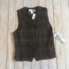 Nwt 80s 90s Vintage Multicolor Plaid Button Up Vest Size 10 Norton McNaughton