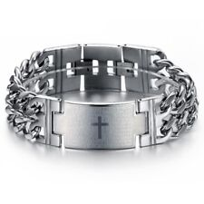 Bracelet made in Stainless Steel 8in 00006000 Atractive Men's Spanish Engraved Cross Wide