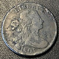 1805 Large Cent Draped Bust One Cent 1c Better Grade VF Details  #17171