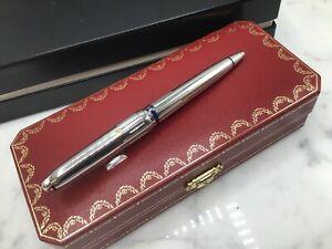 Cartier Louis Serie Limited Edition Ballpoint Pen Art Deco Blue Enamel Platinum
