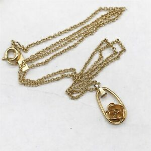 VINTAGE COROCRAFT 3D ROSE FLOWER COSTUME JEWELERY PENDANT AND NECKLACE
