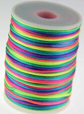 Rainbow 2MM Rattail Satin Cord Macrame Beading Nylon kumihimo String DIY 10yds