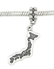 STERLING SILVER DANGLE COUNTRY OF JAPAN MAP TRAVEL EUROPEAN  BEAD CHARM