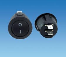 12 Volt Negro Circular On/Off interruptor de eje de balancín, Camper, Motor Home, Caravana, Coche